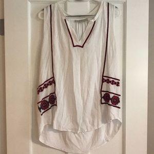 White Aztec print sleeveless blouse